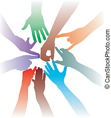 Together, hand in hand - Teamwork by hand - colorful vector...