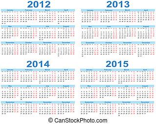 Set of 2012 - 2015 vector