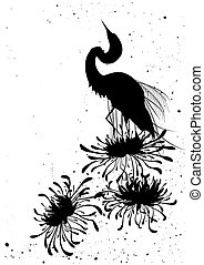 chrysanthemum and heron, floral background in black and...