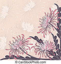 chrysanthemum - vector floral background with flowers of...