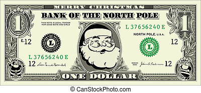 Vector Santa One Dollar Bill. All pieces are separate and...