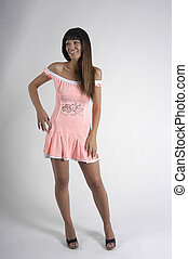 young woman with mini-skirt