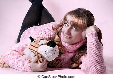 Beauty portrait of cute sexy brunette woman