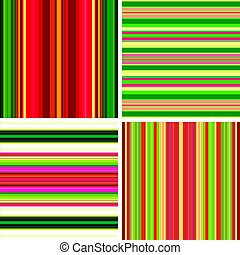 Four retro stripe backgrounds in bright colors - Four retro...