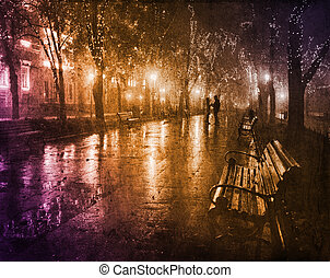 Couple walking at alley in night lights Photo in vintage...