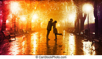 Couple walking at alley in night lights. Photo in vintage...