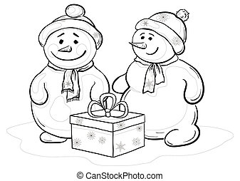 Snowmens with gift box, contours