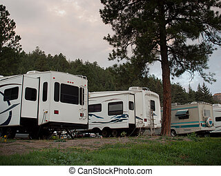 RV Camping - RV campsite at sunrise in Pagosa Springs,...