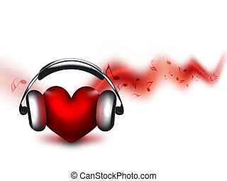 music lover - heart with headphones - the concept of a music...