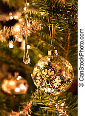 Christmas tree decoration in silver and glass