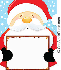 Santa Holding Blank Sign - Santas Christmas Message