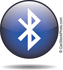 Bluetooth icon - Round bluetooth icon on isolated white...