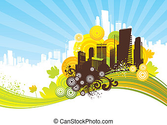 Abstract background with cityscape