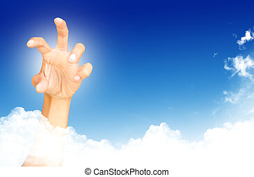 abstract concept hand towards sky