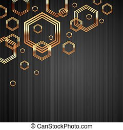 Abstract vector dark metal texture background with golden shiny & luxury hexagon shapes
