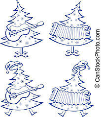 Christmas trees, set, musicians - Christmas trees with...