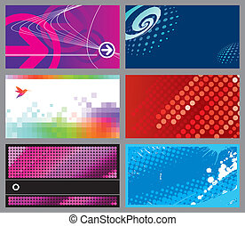 Vector set of six horizontal abstract design business cards