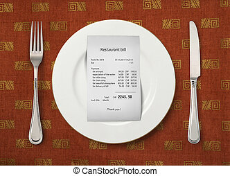 The price at restaurant - The bill on empty plate at...