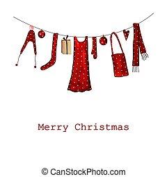 Christmas card - Handmade illustration. Acrylic colours on...