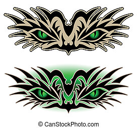 Eyes of a reptile, tribal tattoo