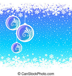 Blue winter background with Christmas ball