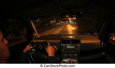 night driving inside  car