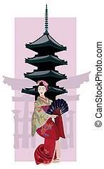 Geisha and Pagoda - Illustration with Geisha, Japanese...