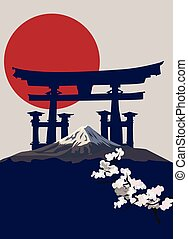 Torii Gate - Background illustration with Mount Fuji and...