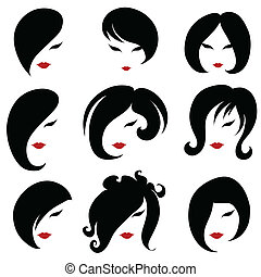Big set of black hair styling