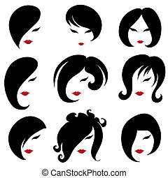 "Big set of black hair styling for woman (from my big ""Hair..."