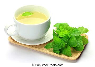 herb tea - I attached a mint to herb tea and took it
