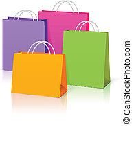 color paper bags isolated on white background