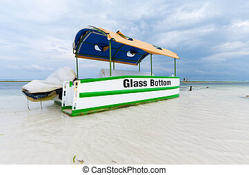 glass bottom boat - touristic glass bottom boat at low tide...