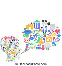 human head with social media,vector illustration