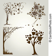 Designs with decorative tree from leafs - Vector set 4 of...