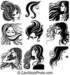 "Vector set of closeup silhouette portrait of beautiful woman with long hair (From my big ""Vintage girl collection"")"