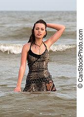 Woman in a wet dress