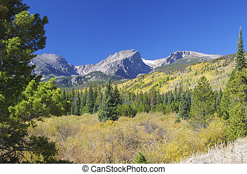 Colorado Rocky Mountains in Fall - a scenic landscape of the...