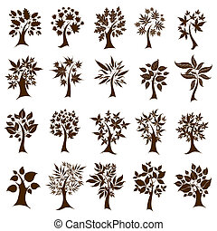 Twenty cute decorative trees from leafs. Thanksgiving -...