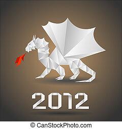Dragon origami.Vector.