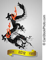 black water Dragon - Chinese black water Dragon - symbol of...