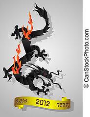 black water Dragon - Chinese black water Dragon - symbol of...