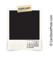 2012 february - calendar with blank photoframe - vector...