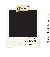 2012 february - calendar with blank photoframe - vector...