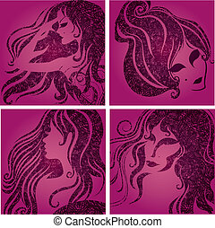 "Vector set of closeup silhouette pink portrait of beautiful woman (From my big ""Vintage girl collection"")"