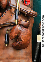 Boxing glove - Vintage style genuine brown leather boxing...