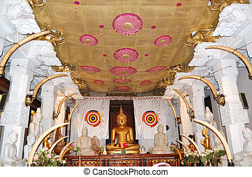 The interior of Temple of the Lord Buddha Tooth Relic Kandy,...