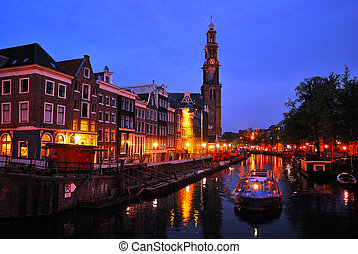 Amsterdam Channel Prinsengraht at night - Amsterdam Channel...