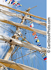 Masts and Sails - Old sailing ship masts and sails and...