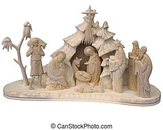 Christmas nativity scene with wooden figures - Christmas...